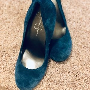 Jessica Simpson Blue Kelly Round Toe Suede Shoes